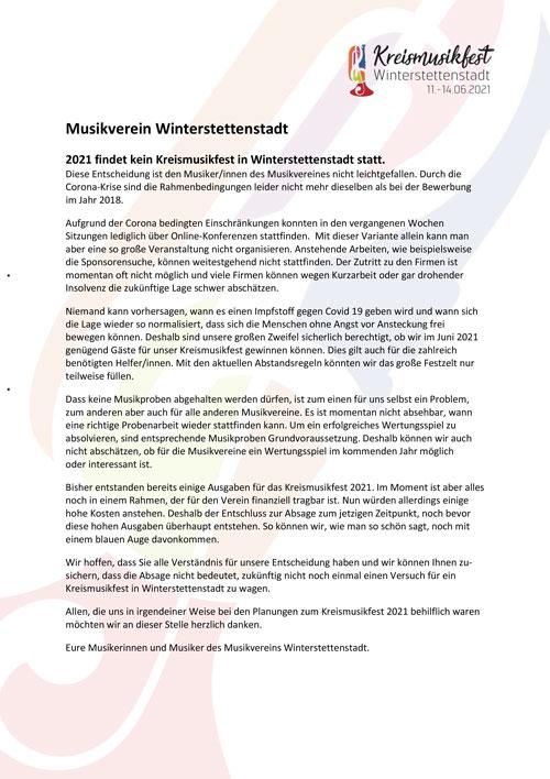 Kreismusikfest 2021 in Winterstettenstadt abgesagt